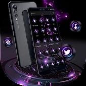 Unduh Tema Bisnis Violet Neon Tech Gratis