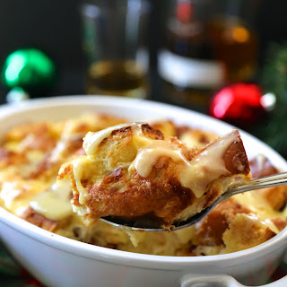 Old Fashioned Challah Bread Pudding with Whiskey Sauce