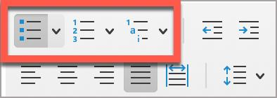 In Microsoft Word, use the built-in lists buttons to create an accessible list; these include Bullets, Numbering, and Multilevel List.