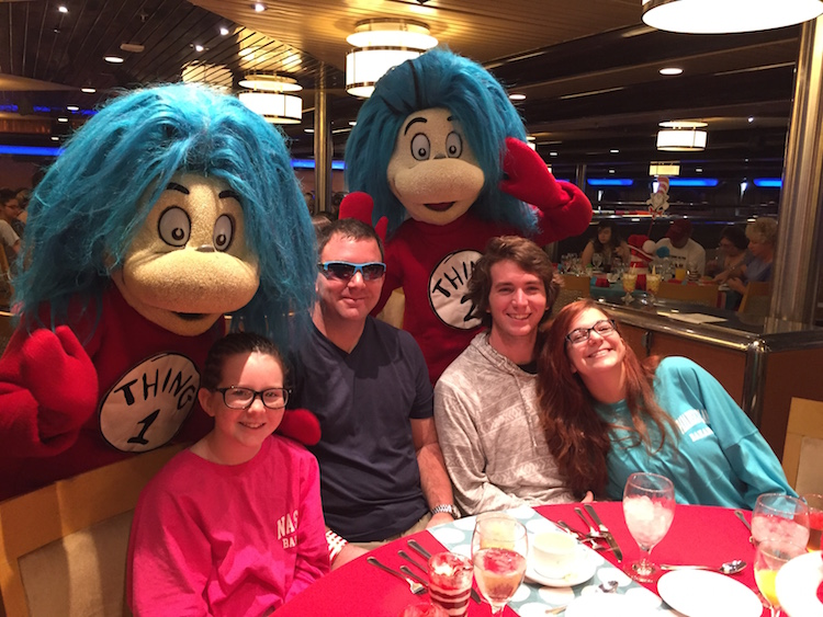 Desiree's family at the Dr. Seuss Green Eggs & Ham breakfast on board