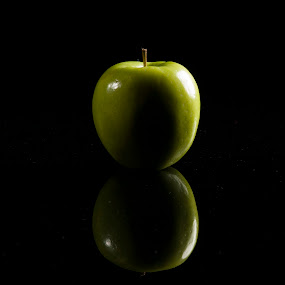 Tasty Apple by Sam Mirrado - Food & Drink Fruits & Vegetables ( reflection, food, apple, green )