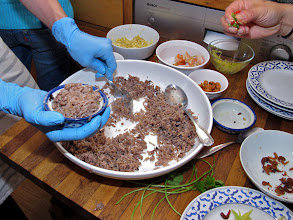 Photo: plating the salted black olive fried rice