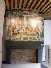 Photo: The adjacent High Constable's Hall contains this painted Biblical scene above the fireplace of the Queen of Sheba meeting Solomon. The style is classic mid-16th century Fontainebleau School.
