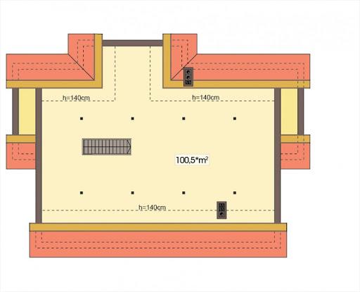 Agatka wersja B dach 32 stopnie - Rzut poddasza