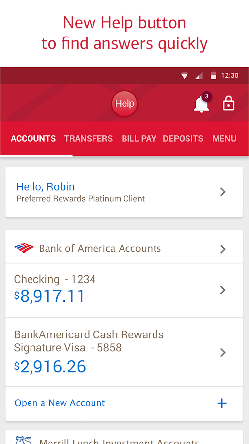 Bank of America- screenshot