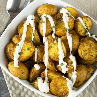 Roasted Curry Potatoes with Greek Yogurt Sauce