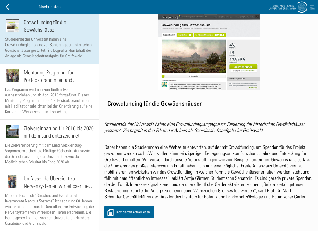 Universität Greifswald- screenshot