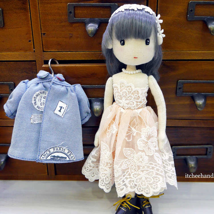 Handmade Doll -Cool Girl with lace dress & denim coat