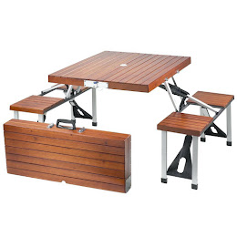 Masa pliabila picnic tip geamantan - Model lemn