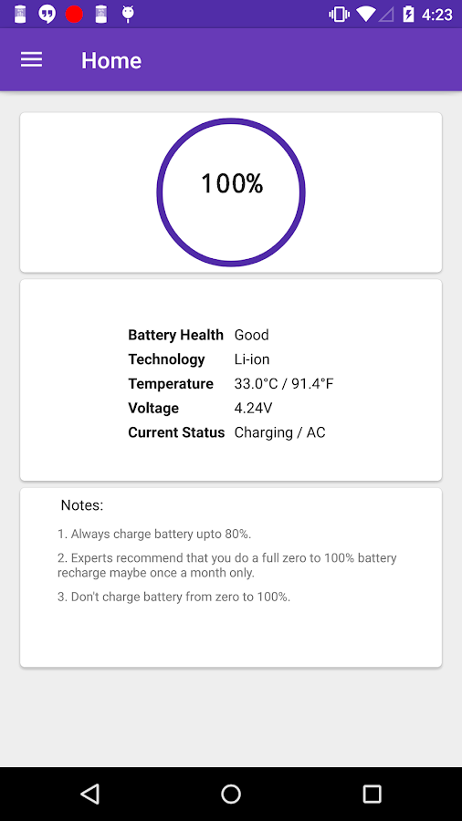 Speaking Battery Alert- screenshot