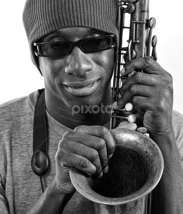 Cool by Phil Portus - People Portraits of Men ( face, tenor, saxophone, afro-caribbean, jazz, male, sax, musician, black, man, people, pwc faces )