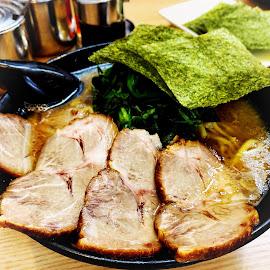 Chashu Ramen by Bill      (THECREOS) Davis - Food & Drink Plated Food ( #ramen, #chashuramen, #japanese, #noodles, #iphone, #dinner, #japanesefood, #iphone8plus, #tokyo, #iphone8, #chashu, #soup, #pork, #platedfood, #food, #bowl, #japan )