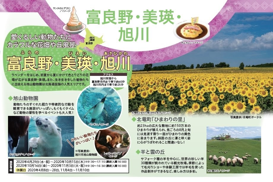 HIS関西事業部企画・旅行商品のパンフレット『Ciao 北海道』北竜町ひまわりの里