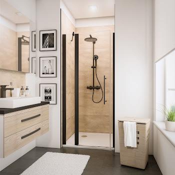 Porte de douche pivotante sur élément fixe, style industriel, profilé noir