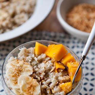 Breakfast Barley Bowl with Mango, Coconut, and Banana.
