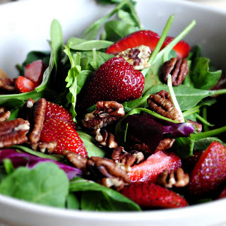 Salad With Strawberry, Spinach And Walnuts