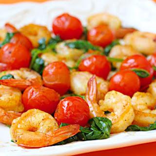 Sautéed Shrimp with Spinach & Tomatoes.