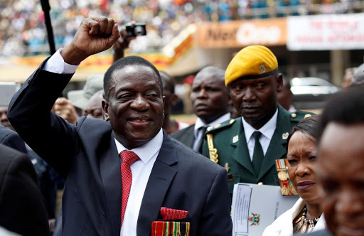 Emmerson Mnangagwa arrives ahead of his inauguration ceremony to swear in as president in Harare, Zimbabwe.