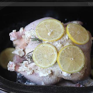 Slow Cooker Buttered Lemon Herb Rotisserie Chicken