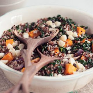 Tropical Quinoa Pilaf with Coconut, Sweet Potatoes and Kale.