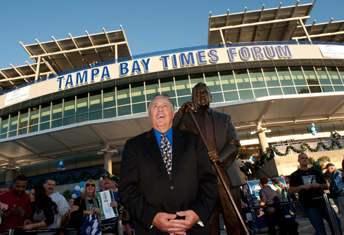 Photo: TAMPA, FL - DECEMBER 31:  Phil Espostio is honored with a statue on the west plaza at the Tampa Bay Times Forum on December 31, 2011 in Tampa, Florida.  (Photo by Scott Audette/NHLI via Getty Images)