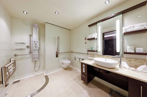 Norwegian-Escape-Courtyard-Suite-bathroom - A Courtyard Suite bathroom aboard Norwegian Escape.