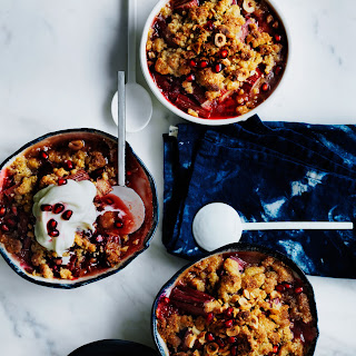 Rhubarb, Pomegranate And Hazelnut Crumble.