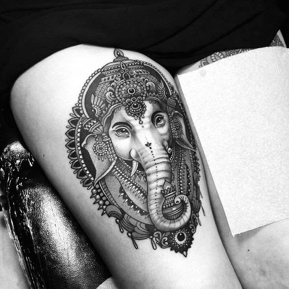 Best Ganesha tattoo on thigh