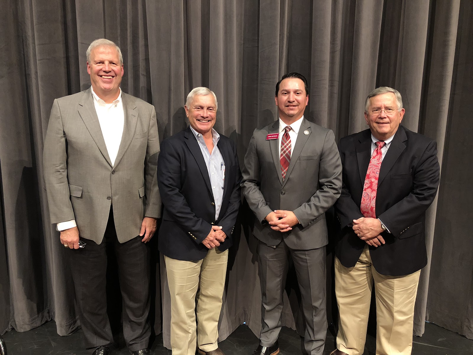 Lockhart City Manager Steve Lewis, Caldwell County Judge Ken Schawe, LISD Superintendent Mark Estrada, and Lockhart Mayor Lew White