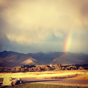 Rainbow by Suvajee Panmatanee - Instagram & Mobile iPhone ( sky, mountain, tree, color, grass, beautiful, newzealand, cloud, rock, yellow, landscape, rainbow )