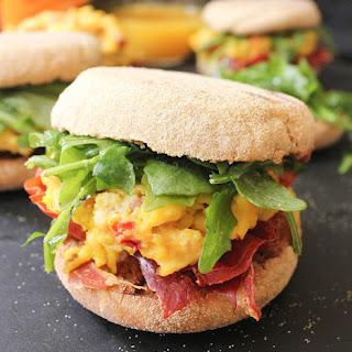 Sun-Dried Tomato and Goat Cheese Egg Sandwiches with Crispy Prosciutto Recipe