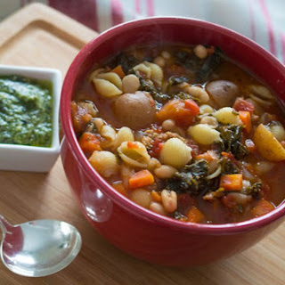 Winter Minestrone with Sausage, Kale, and Basil Pistou.