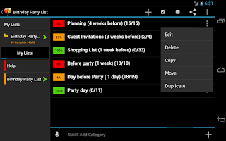 Screenshot of Birthday Planner