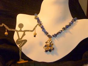 Photo: <BEREHYNYA> {Great Goddess Protectress} unique one-of-a-kind statement jewellery by Luba Bilash ART & ADORNMENT  HIDDEN TREASURE – ЗАХОВАНІ СКАРБИ        - 14K gold vermeil pendant, lapis lazuli, 14K gold vermeil               $150/set SOLD/ПРОДАНИЙ