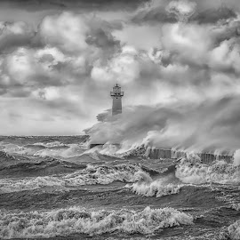 The Rage of Ontario by Kevin Tubiolo - Black & White Landscapes ( lake ontario, clouds, black and white, waves, wind storm, rage )