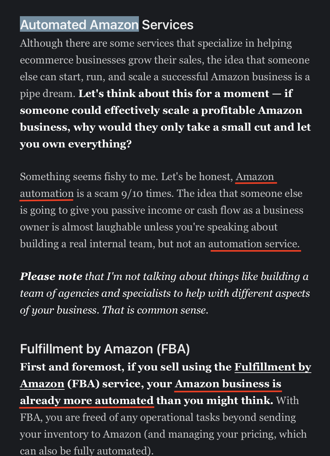 Automated Amazon Services