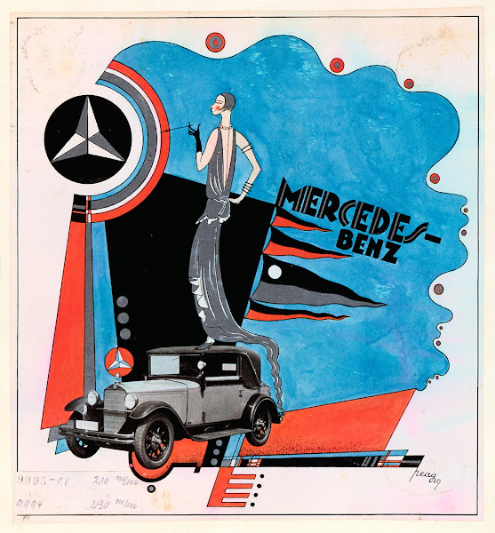 Photo: This draft advertisement from 1929 (Peag) takes up elements of constructivism and is absolutely unique in the world of advertising from Mercedes-Benz.