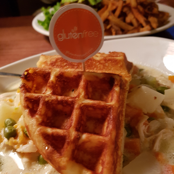 Chicken pot pie with GF waffle.