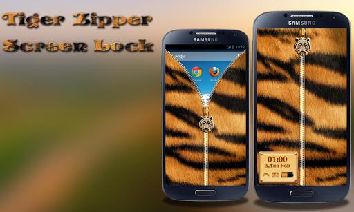 Tiger Zipper Lock Screen