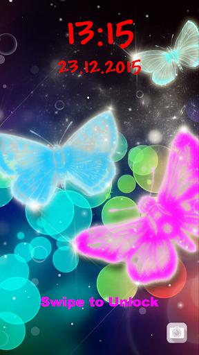 無料个人化Appの蝶ネオン  ロック画面 記事Game