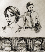 """Photo: 'The Sun Falls Before Dark,' sketch, 17.8cmx 23.9cm, 7"""" x 9"""", archival ink, archival paper.  A very quick sketch."""