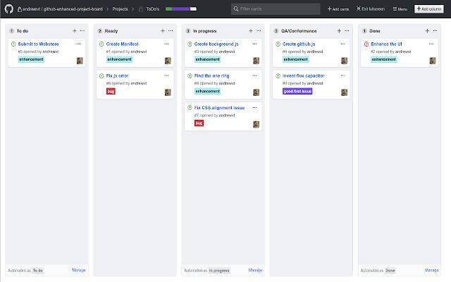 Github Enhanced Project Board