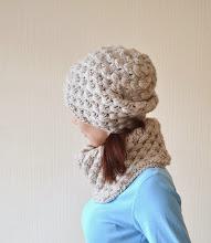 Photo: женская вязаная шапка-носок и шарф-снуд Зернышки