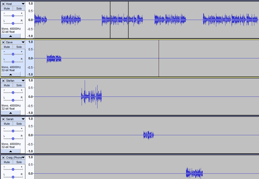 Audio editing playback screen