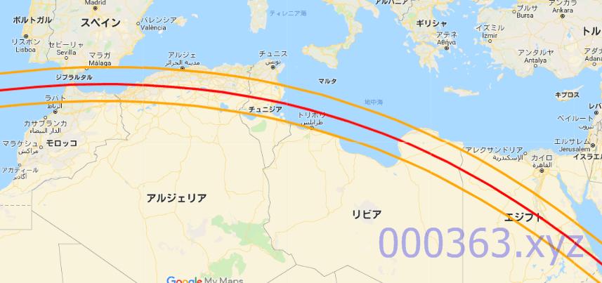 2027年08月02日の皆既日食ルート