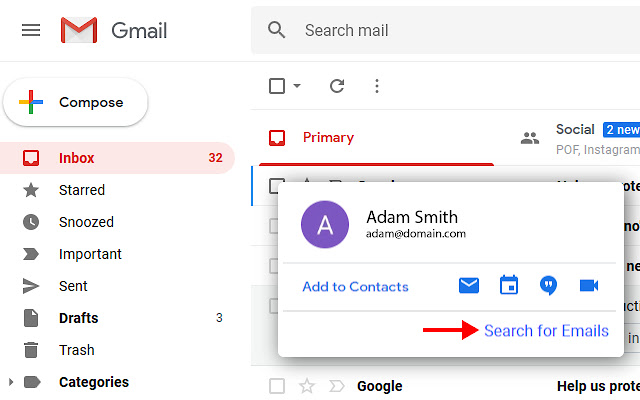 Gmail Emails for Contact