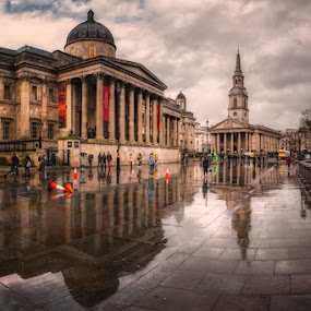 National Galery and St. Martin-in-the-fields church  by Krasimir Lazarov - Buildings & Architecture Places of Worship ( london, public, town, city, united kingdom, church, place of worship, cityscape, architecture )