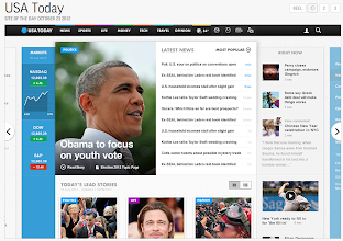 Photo: USA Today's site is a Web-based app, filling the screen with rich visuals and headline snippets.