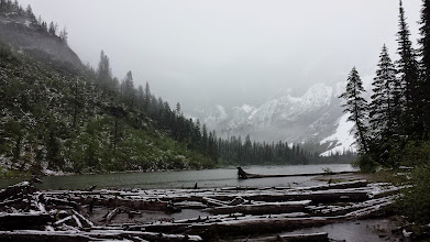 Photo: Avalanche Lake! After one hour of climbing in the rain and snow