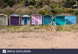 Wooden beach huts at Coldingham Bay in Scottish Borders, Scotland ...